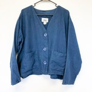 Flax Blue Linen Button Up Shirt Blouse